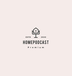 home podcast logo hipster retro vintage icon for vector image