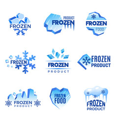 Ice logo frozen product abstract badges cold and vector
