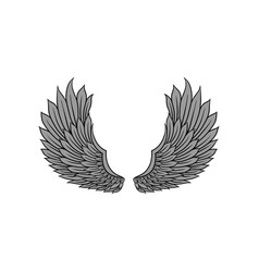 Icon of open bird or angel wings with gray vector