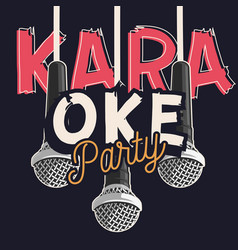 Karaoke party music design with microphones vector
