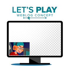 Let s play blogger review concept vetor vector