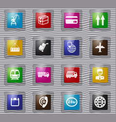 logistic glass icons set vector image