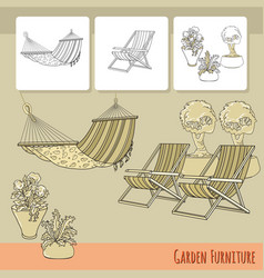 Lounge chairs hammock and flowers in pot vector