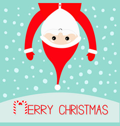 merry christmas candy cane santa claus hanging vector image