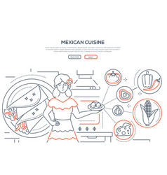 mexican cuisine - thin line design style banner vector image