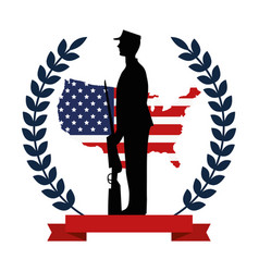 military with weapon silhouette with flag emblem vector image
