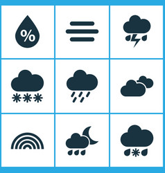Nature icons set collection of moisture haze vector
