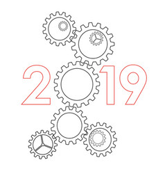 New year 2019 concept - gears vector