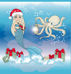 Octopus mermaid gift new year color vector