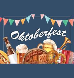 Oktoberfest frame design with sausage pretzel vector