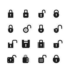 open and closed padlock icons lock security and vector image