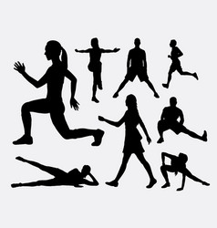 People fitness aerobic and sport silhouette vector