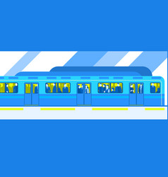 people in city subway train public transport vector image