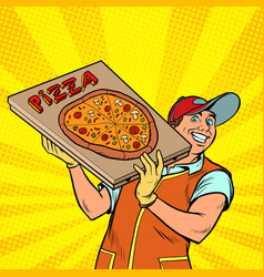 pizza delivery boy street food vector image
