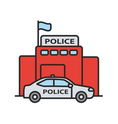 police department building color icon vector image