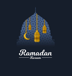 Ramadan kareem with crescent moon and lantern vector