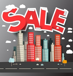 Sale Title above City vector image