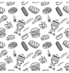 Seamless pattern bbq and grill design element for vector