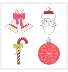 Set of Christmas Colorful Line Style Icons vector