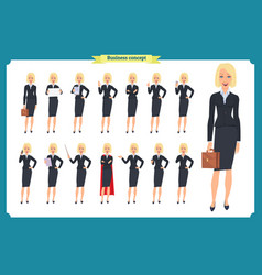 set of young businesswoman presenting vector image