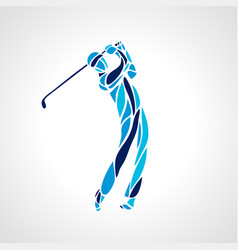 silhouette of abstract golf player eps10 vector image