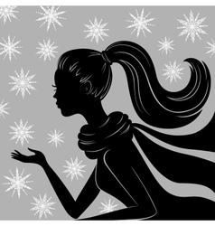 Silhouette of young woman vector image vector image