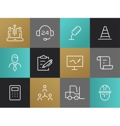 Single Line Business Pictograms Set vector image