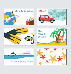 six card template - summer vacation vector image