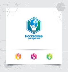 Smart idea logo design concept bulb and rocket vector