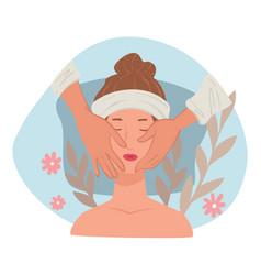 Spa salon procedure facial massage and skincare vector