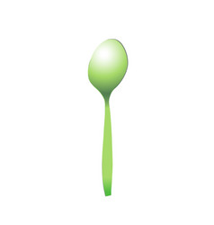 Spoon green plastic realistic for food light vector