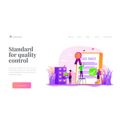 Standard for quality control landing page template vector
