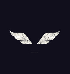 stock wings silhouette with vintage texture vector image