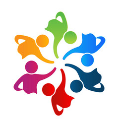 teamwork unity people logo design vector image