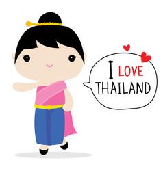 thailand women national dress cartoon vector image