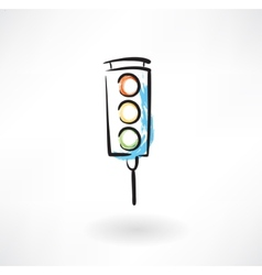 traffic light grunge icon vector image