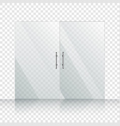 transparent two glass door isolated on vector image