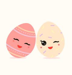 two kawaii eggs vector image