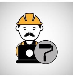 Under construction laptop worker paint roller vector