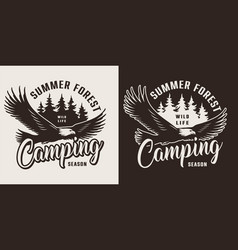 vintage summer camping monochrome label vector image