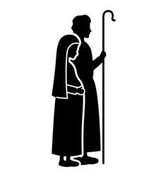 Virgin mary pregnancy and saint joseph silhouettes vector