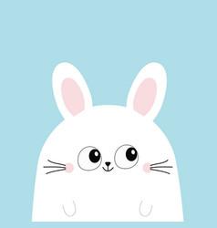 White bunny rabbit head face funny head face big vector