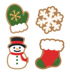Winter holiday decorated cookies christmas vector