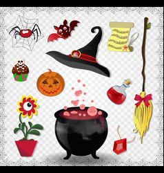witch accessories set in red color isolated on vector image