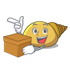 With box mollusk shell character cartoon vector