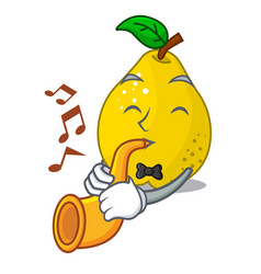 with trumpet ripe yellow quince fruit on mascot vector image