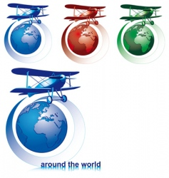 world with plane vector image