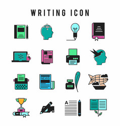 writing icon set vector image