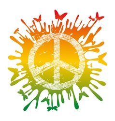 artistic hippie peace vector image