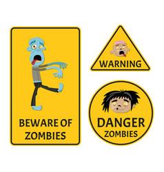 beware of zombies warning stickers set vector image